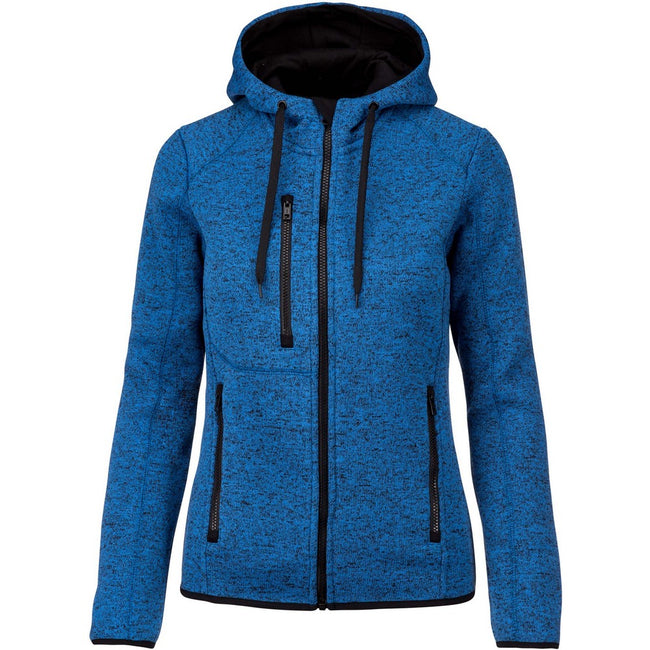 Light Royal Blue Melange - Front - Proact Womens-Ladies Heather Hooded Jacket