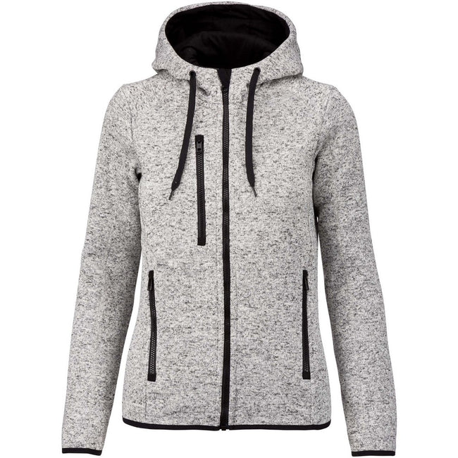 Light Grey Melange - Front - Proact Womens-Ladies Heather Hooded Jacket