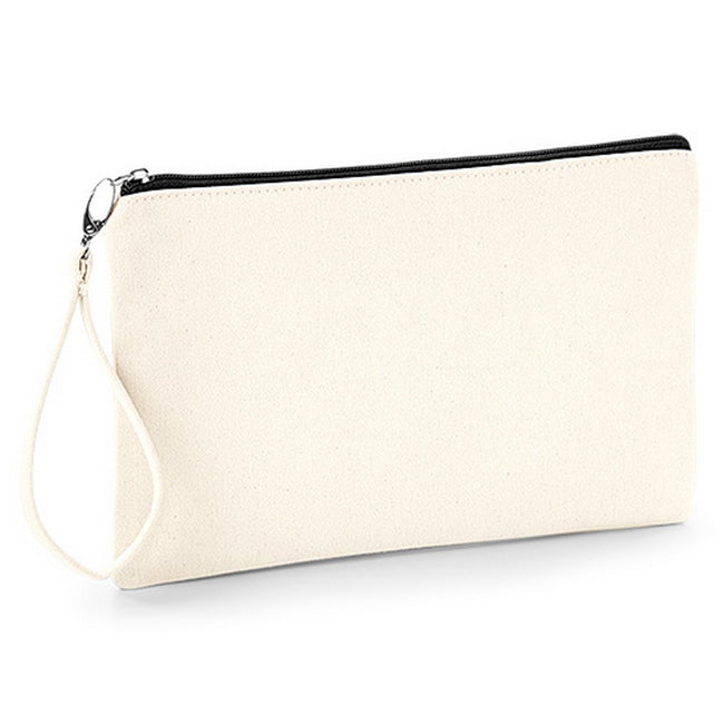 Natural-Black - Front - Westford Mill Canvas Wristlet Pouch