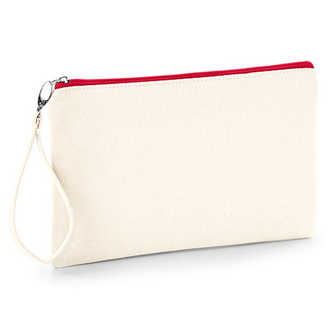 Natural-Red - Front - Westford Mill Canvas Wristlet Pouch