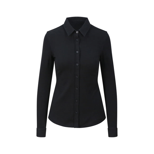 Black - Front - AWDis So Denim Womens-Ladies Anna Knitted Long Sleeve Shirt