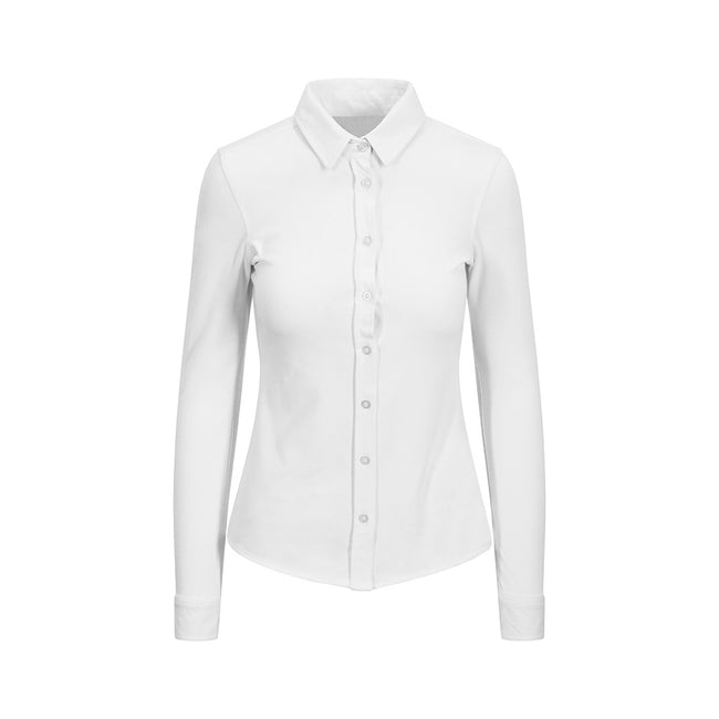 White - Front - AWDis So Denim Womens-Ladies Anna Knitted Long Sleeve Shirt
