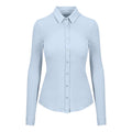 Blue - Front - AWDis So Denim Womens-Ladies Anna Knitted Long Sleeve Shirt