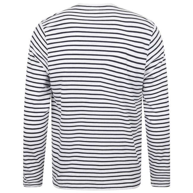 White-Oxford Navy - Back - Skinni Fit Unisex Long Sleeve Striped T-Shirt