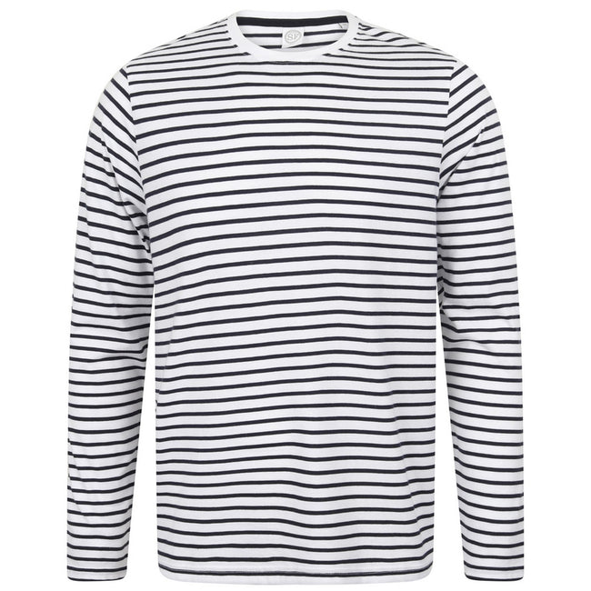 White-Oxford Navy - Front - Skinni Fit Unisex Long Sleeve Striped T-Shirt