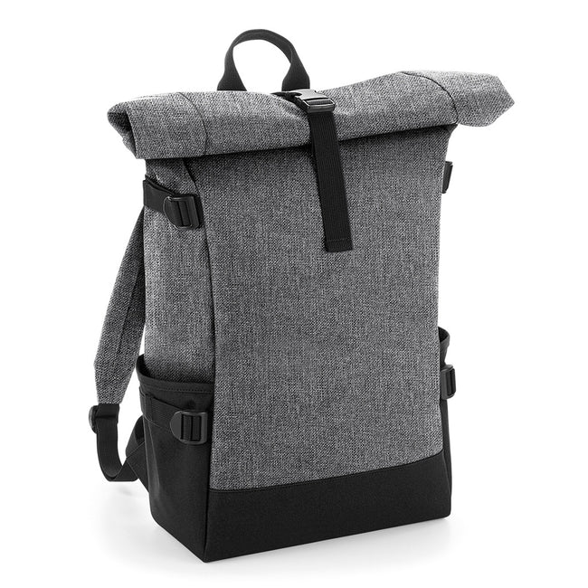 Grey Marl-Black - Front - BagBase Block Roll-Top Backpack
