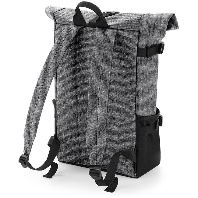 Grey Marl-Black - Back - BagBase Block Roll-Top Backpack