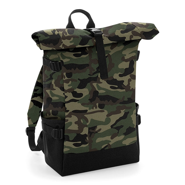 Jungle Camo-Black - Front - BagBase Block Roll-Top Backpack