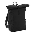 Black-Black - Front - BagBase Block Roll-Top Backpack