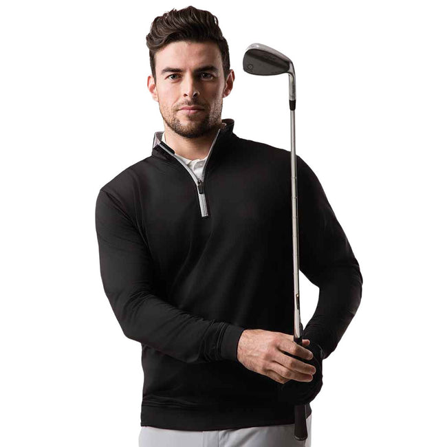 Black-Light Grey - Front - Glenmuir Mens Zip Neck Midlayer Top