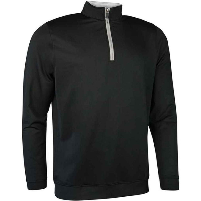 Navy-Light Grey - Front - Glenmuir Mens Zip Neck Midlayer Top