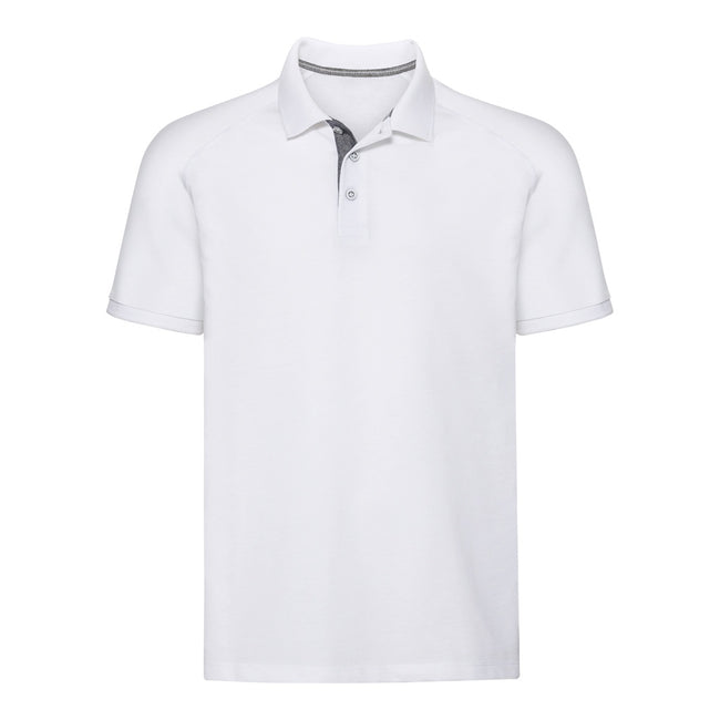 White - Front - Russell Mens HD Raglan Jersey Polo Shirt