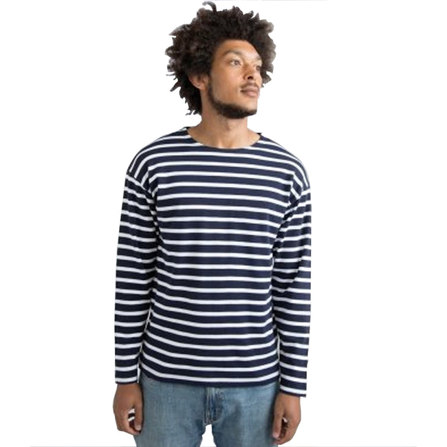 Navy-White - Front - One By Mantis Unisex Adults Long Sleeve Breton Stripe T-Shirt