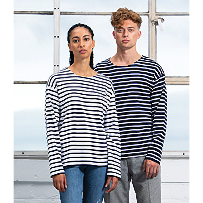 Navy-White - Back - One By Mantis Unisex Adults Long Sleeve Breton Stripe T-Shirt
