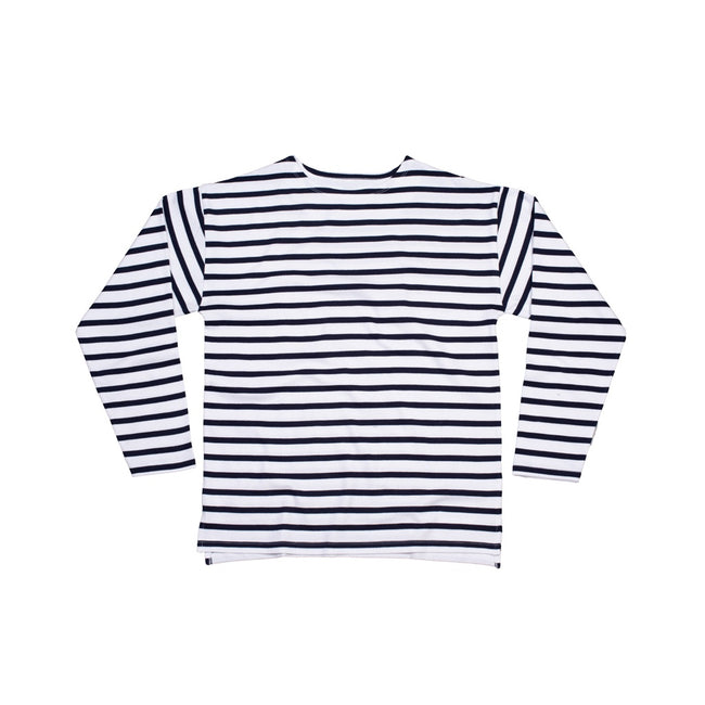 White-Navy - Front - One By Mantis Unisex Adults Long Sleeve Breton Stripe T-Shirt