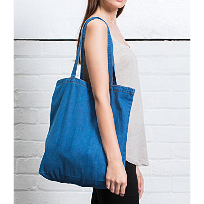Denim Blue - Back - Mantis Denim Tote Bag