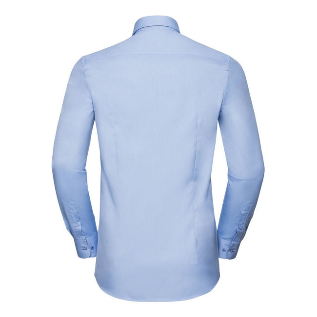 Light Blue-Mid Blue - Back - Russell Collection Mens Long Sleeve Contrast Herringbone Shirt
