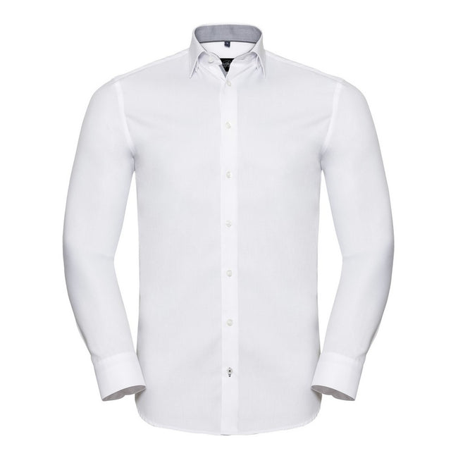 White-Silver - Front - Russell Collection Mens Long Sleeve Contrast Herringbone Shirt