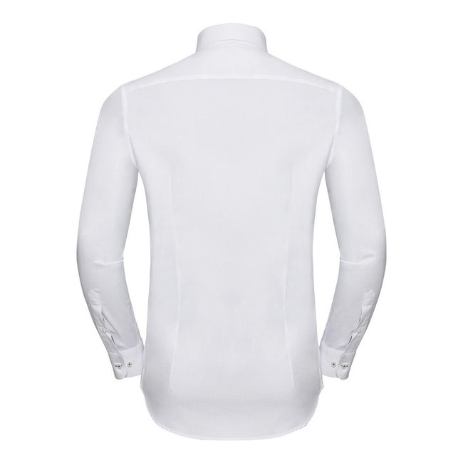 White-Silver - Back - Russell Collection Mens Long Sleeve Contrast Herringbone Shirt