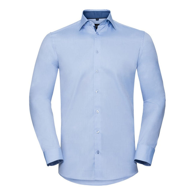 Light Blue-Mid Blue - Front - Russell Collection Mens Long Sleeve Contrast Herringbone Shirt