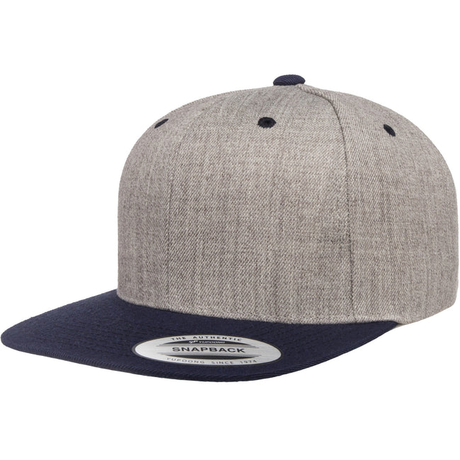 Heather Grey-Navy - Front - Flexfit Unisex Two Tone Classic Snapback Cap