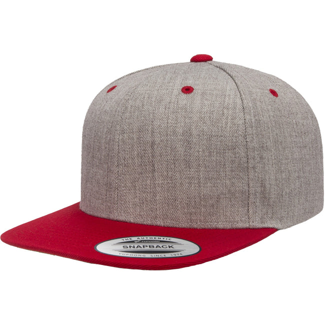 Heather Grey-Maroon - Front - Flexfit Unisex Two Tone Classic Snapback Cap
