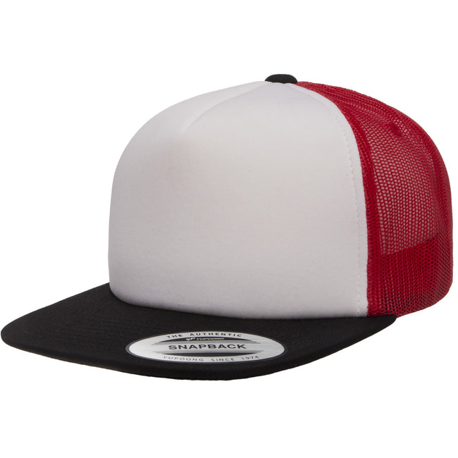 Black-White-Red - Front - Flexfit Unisex Foam Trucker Cap