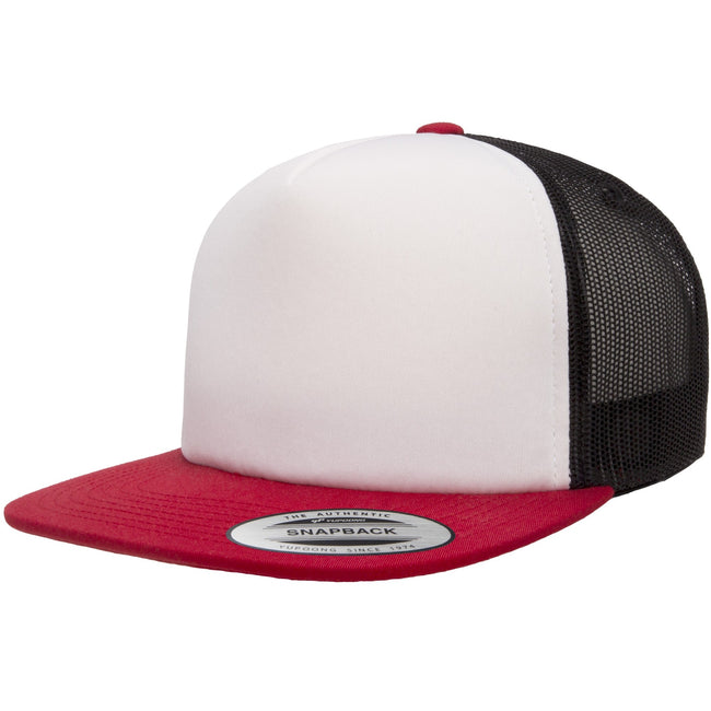 Red-White-Black - Front - Flexfit Unisex Foam Trucker Cap