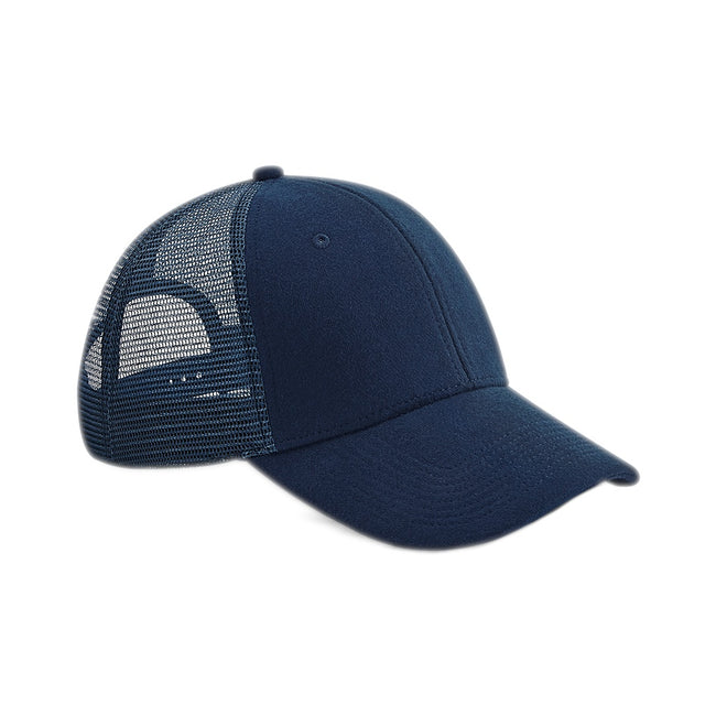 French Navy - Front - Beechfield Adults Unisex Jersey Athleisure Trucker Cap