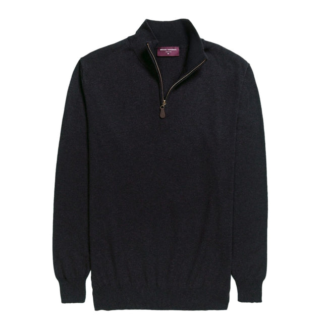 Charcoal - Front - Brook Taverner Mens Dallas Zip-Neck Sweater