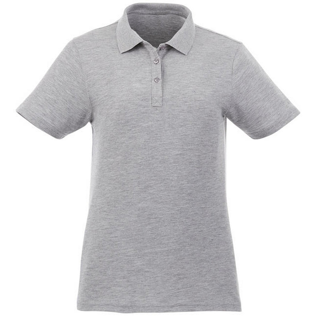 Heather Grey - Front - Elevate Liberty Womens-Ladies Private Label Short Sleeve Polo Shirt