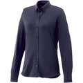 Navy - Front - Elevate Womens-Ladies Bigelow Long Sleeve Pique Shirt
