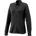 Black - Front - Elevate Womens-Ladies Bigelow Long Sleeve Pique Shirt