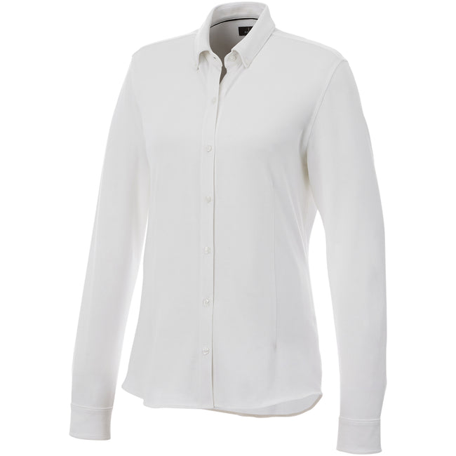White - Front - Elevate Womens-Ladies Bigelow Long Sleeve Pique Shirt