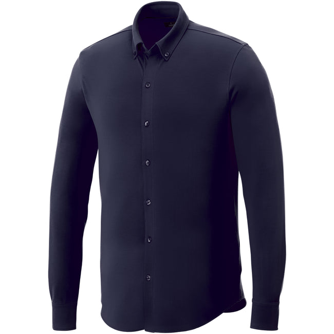 Navy - Front - Elevate Mens Bigelow Long Sleeve Pique Shirt