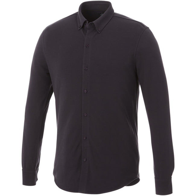Storm Grey - Front - Elevate Mens Bigelow Long Sleeve Pique Shirt