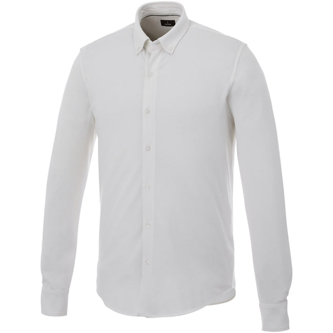 White - Front - Elevate Mens Bigelow Long Sleeve Pique Shirt