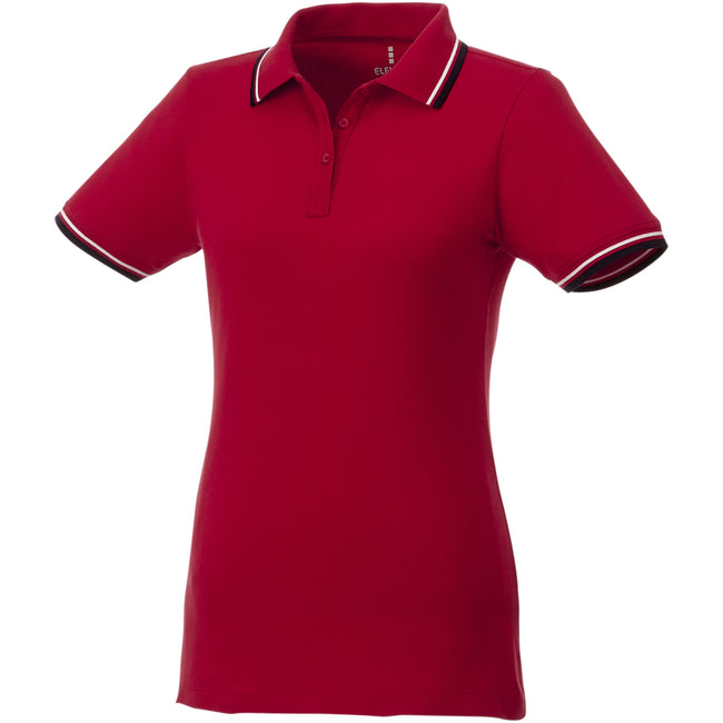 Red-Navy-White - Front - Elevate Womens-Ladies Fairfield Polo With Tipping