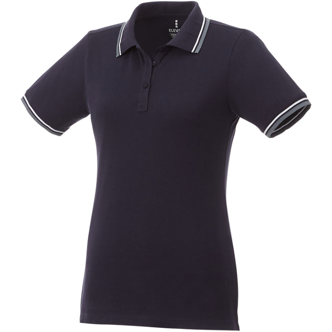 Navy-Grey Melange-White - Front - Elevate Womens-Ladies Fairfield Polo With Tipping