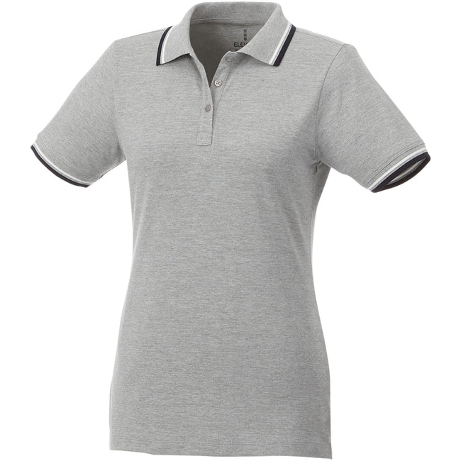 Grey Melange-Navy-White - Front - Elevate Womens-Ladies Fairfield Polo With Tipping