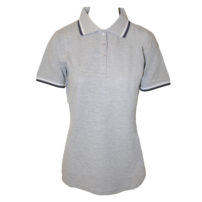 Black-Grey Melange-White - Front - Elevate Womens-Ladies Fairfield Polo With Tipping
