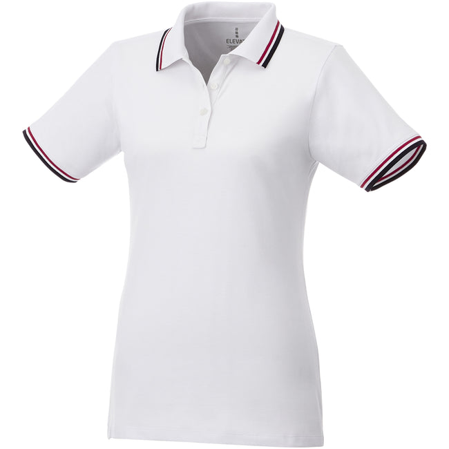 White-Navy-Red - Front - Elevate Womens-Ladies Fairfield Polo With Tipping