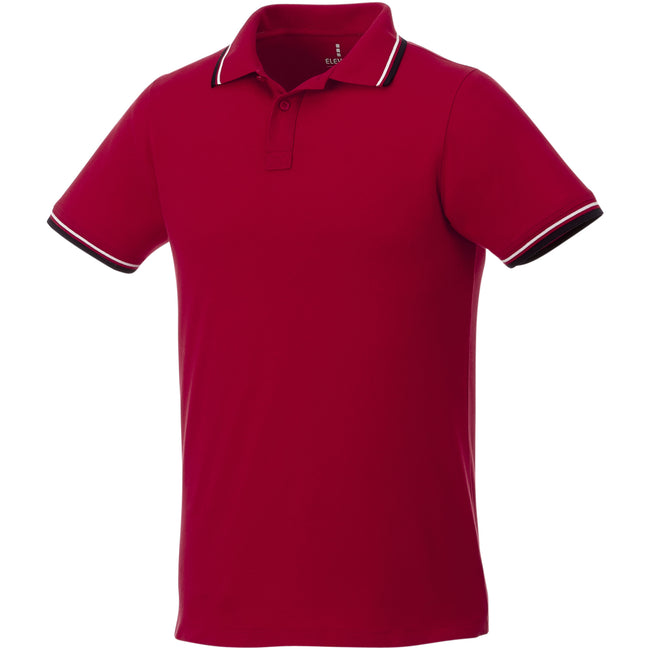Red-Navy-White - Front - Elevate Mens Fairfield Polo With Tipping