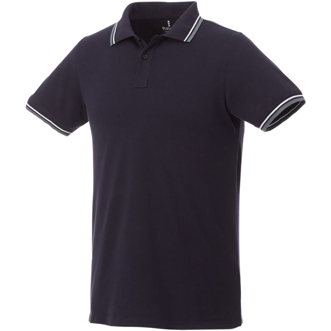Navy-Grey Melange-White - Front - Elevate Mens Fairfield Polo With Tipping