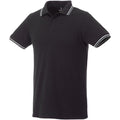 Black-Grey Melange-White - Front - Elevate Mens Fairfield Polo With Tipping