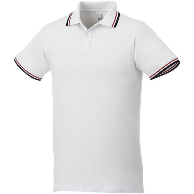 White-Navy-Red - Front - Elevate Mens Fairfield Polo With Tipping