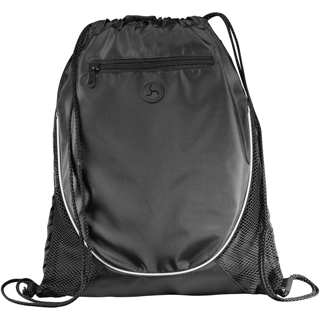 Solid Black - Front - Bullet The Peek Drawstring Cinch Backpack (Pack of 2)