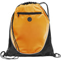 Orange-Solid Black - Front - Bullet The Peek Drawstring Cinch Backpack (Pack of 2)