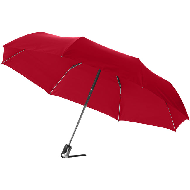 Silver-Red - Front - Bullet 21.5in Alex 3-Section Auto Open And Close Umbrella (Pack of 2)