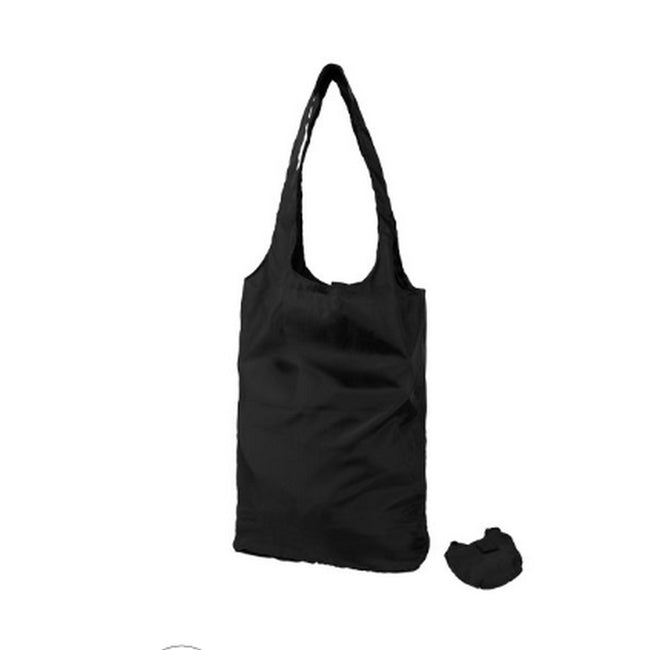Solid Black - Front - Bullet Packaway Shopping Tote Bag